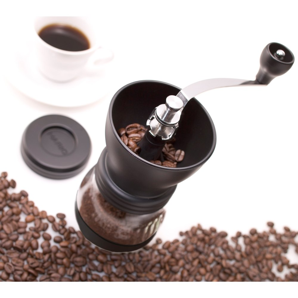 The Hario Medium Glass is a small and cheap coffee grinder, and has ceramic burrs.