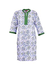 Karni Women's Cotton Green & Black Kurti