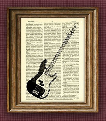 fender-precision-electric-bass-guitar-illustration-beautifully-upcycled-dictionary-page-book-art-pri