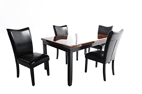 Home Source 50902106 5-Piece Whittier Collection Asian Hardwood Dining Set, 40 by 25 by 19-Inch, Black/Brown