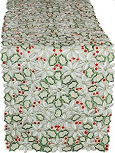 Xia Home Fashions Poinsettia Lush Holiday Embroidered Cutwork Table Runner, 15-Inch by 54-Inch