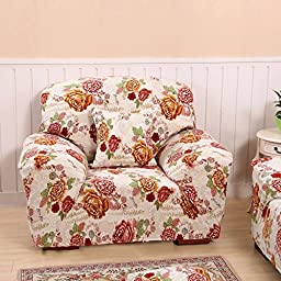 yazi Luxury Peony Super Stretch Fit Recliner Slipcover Chair Protector Cover One-Seater 35-55 Inch