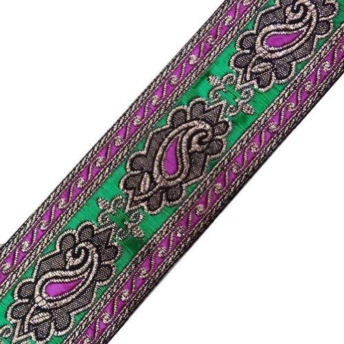 Pink Green Wide Paisley Weaving Jacquard Ribbon Trim Sewing Border Lace Craft 3 Yd