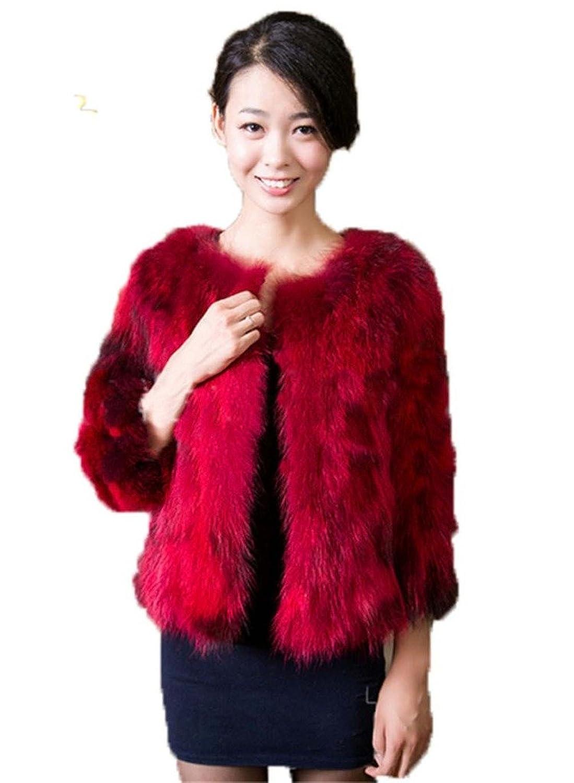 YR Lover Damen Winter Echter Waschbär Pelz Warm Fuchs Mantel Jacket