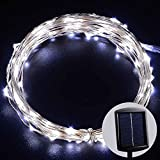 LED SopoTek Solar Powered Led Starry String Lights 120 leds Cool White Color on silver Wire 20ft Waterproof LED Starry Light For Christmas Wedding and Party Up to 12 hours runtime (20ft Cool White)