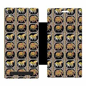 Skintice Designer Flip Cover with Vinyl wrap-around for Intex Aqua Power Plus, Design - camel art