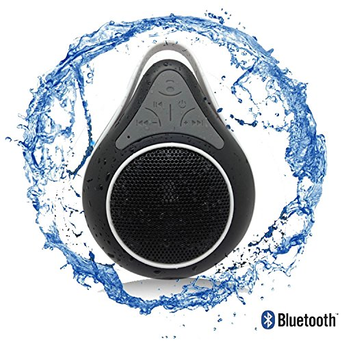 Bluetooth Waterproof Shower Speaker Phone with Mic. Best Portable Wireless Music Receiver for Pool, Shower and Outdoor Hikes. Hands Free Device for Car and Traveling as well. Waterproof Level IPX7 - Can be Submerged under water up for up to 30 minutes at lycheers waterproof wireless fm radio bluetooth mini shower stereo speaker with hook handle and hands free speakerphone