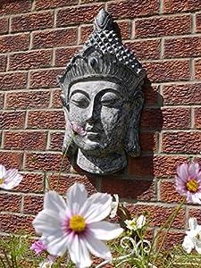 BUDDHA Head Stone Effect Garden Sculpture Wall Decor