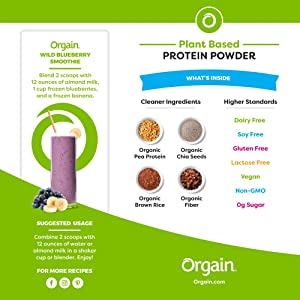 Orgain Organic Plant Based Protein Powder, Nautral Unsweetened, Vegan, Gluten Free, Kosher, Non-GMO, 1.59 Pound, 1 Count, Packaging May Vary (Tamaño: 1.59 LB)
