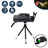 Monocular Telescope,80x100 Zoom Monocular with Bak4 Prism Dual Focus High Power Compact Fully Multi Coated Optical Glass Lens Waterproof Telescope for Hiking Hunting Camping Bird Watching (Color: 80*100 Scope+Phone Clip+SLR Mount)