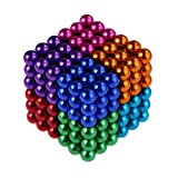 Weirui Magnetic Cube 216pcs Rolytoy Magnets Blocks Magnetic Sculpture Holders Square Cube Children's Puzzle Magic Cubes DIY Educational Toys for Kids (Colorful 1, 5mm)