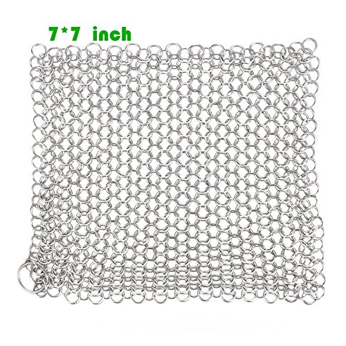 YEHAM 316 Grade Stainless Steel Cast Iron Cleaner Chainmail Scrubber with Skillet Handle Holder, Pan Scraper, Grill Scraper Cookware (7x7inches) (Solder Scrubber compare prices)