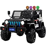 Uenjoy Electric Kids Ride On Cars 12V Battery Power Vehicles W/ Wheels Suspension, Remote Control, Music& Story Playing, Colorful Lights, Sunshine Model, Black (Color: Black)