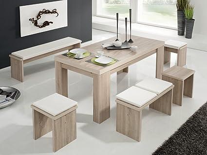 Esstischgruppe Länge 140cm Tisch Bank Hocker Weiß