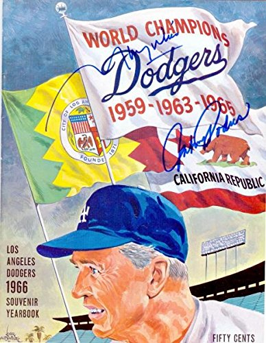 1966 Los Angeles Dodgers Yearbook Autographed/Hand Signed by Maury Wills and Johnny Podres