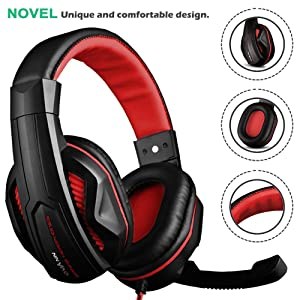 DLAND Gaming Headset, 3.5mm Wired Bass Stereo Noise Isolation Gaming Headphones with Mic for Laptop Computer, Cellphone, PS4 and so on- Volume Control (Black and Red) (Color: Black and Red)