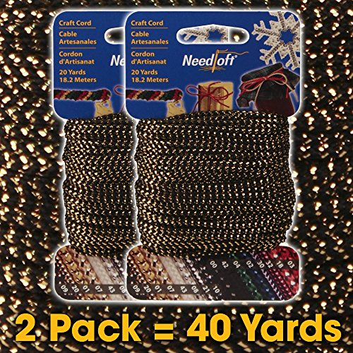 Review #09 Black/Gold Needloft Craft cord by Cottage Mills - 2-Pack = 40 yards - Durable nylon blend...