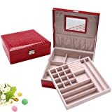Wuligirl Wooden Jewelry Box Organizer Case Pu Leather Lockable Storage Display Earring Ring Necklace Bracelet Watch Holder with Makeup Mirror & 2 Trays Key for Women(Red) (Color: A Red Jewelry Box)
