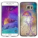 YiPhone Premium Slim Snap Back Case Cover Armor Shell Happy Rain Window Painting Samsung Galaxy S6 SM G920