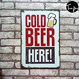 MOUSE POSTER STAR Cold Beer Here beer Vintage Metal Painting tin sign Bar pub home Wall Decor Retro Mural Poster Home Decor Craft