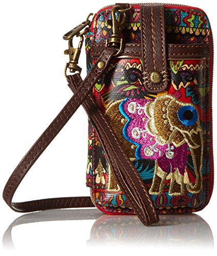 Sakroots Artist Circle Smartphone Wristlet Cross Body Bag, Cherry One World