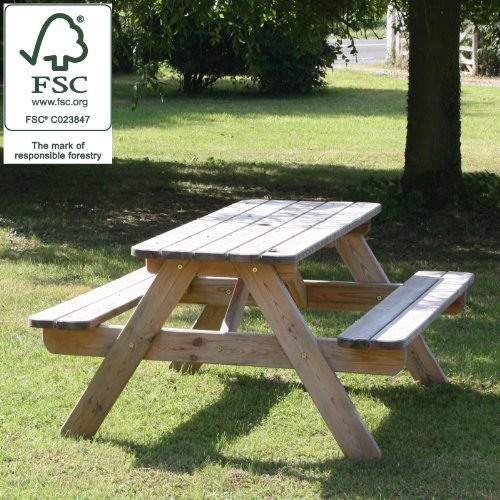 Wooden Garden 1400mm Picnic Table / Bench - Pine 100% Fsc Certified Picture