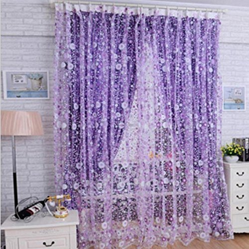 yosoo pastoralen stil kleine blume voile gardine vorh nge curtain gardinen f r t r fenster. Black Bedroom Furniture Sets. Home Design Ideas