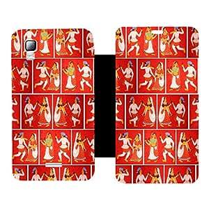 Skintice Premium Flip Cover with a Designer hi-res printed Vinyl Wrap-around forMicromax Canvas Doodle 3 A102 , Design - Navratri