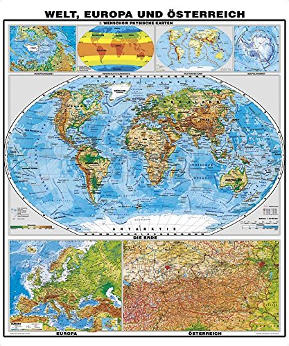 XXL Welt physisch mit Beikarten Europa / Österreich - Landkarten Papier, gerollt, beidseitig matt antireflexierend extra stark laminiert (reißfest, beschreib- und abwaschbar)