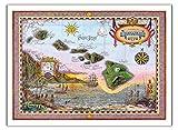 Karte Von Old Hawaii – Die Inseln Von Hawaii – Alte Hawaiianischer Farbigen Kartographischen Karte von Steve Strickland – hawaiianischer Kunstdruck – 112cm x 152cm
