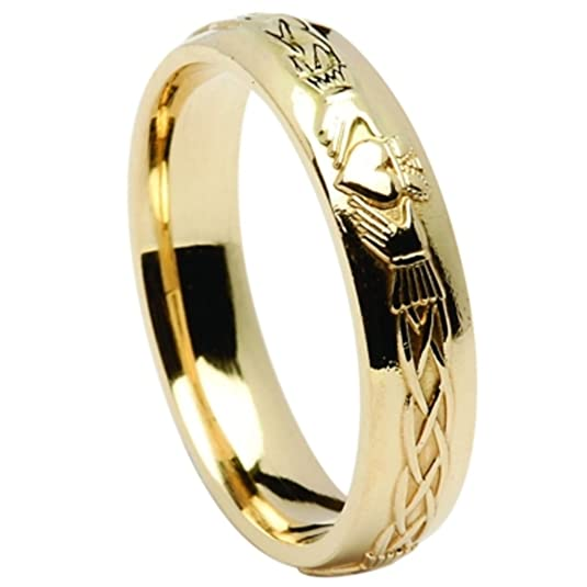 Celtic 10ct Gold Celtic Claddagh Embossed Wedding Ring