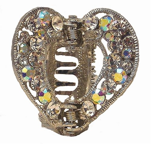 Hair Clip - H21 - Open Heart set with Swarovski (tm) Crystal Stones ~ Clear & Clear AB Irridescent