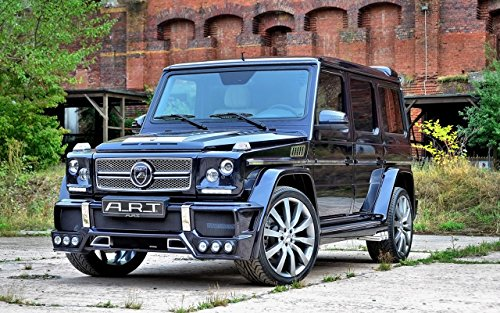 """Mercedes-Benz G55 Amg Streetline 65 By Art (2014) Car Art Poster Print On 10 Mil Archival Satin Paper Black Front Side Static View 17""""X11"""""""