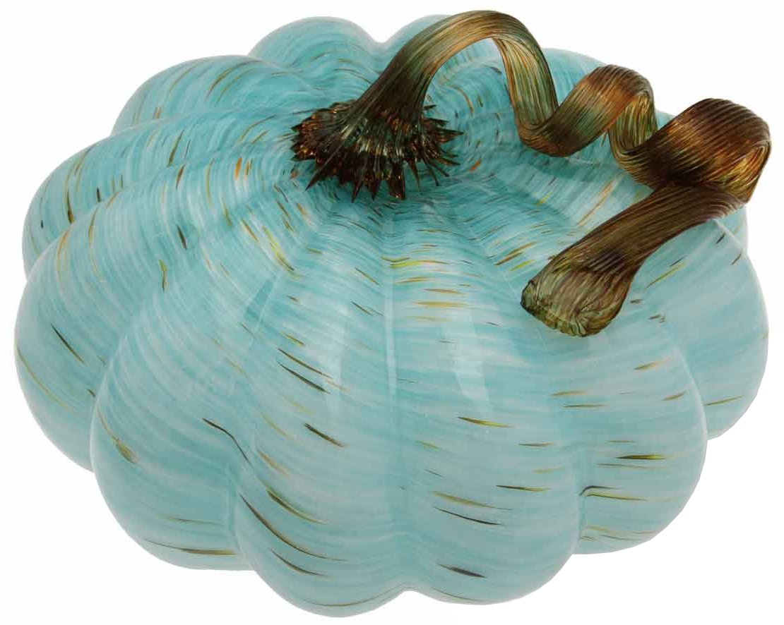 Boston International Glass Pumpkin Decorative Table Accent, Medium, Light Blue