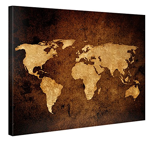 Large Canvas Print Wall Art VINTAGE WORLD MAP 40x30 Inch Abstract Canvas