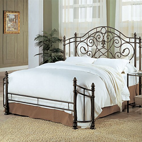 Coaster Queen Size Antique Gold Finish Metal Bed Headboard & Footboard 0