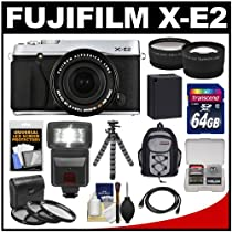 Fujifilm X-E2 Digital Camera & 18-55mm XF Lens (Silver) with 64GB Card + Battery + Backpack + Flex Tripod + Flash + Tele/Wide Lens + Kit