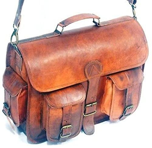 Roll over image to zoom in HLC Vintage Genuine Leather Laptop Briefcase messenger satchel bag