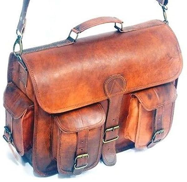 HLC Vintage Genuine Leather Laptop Briefcase messenger satchel bag 2016