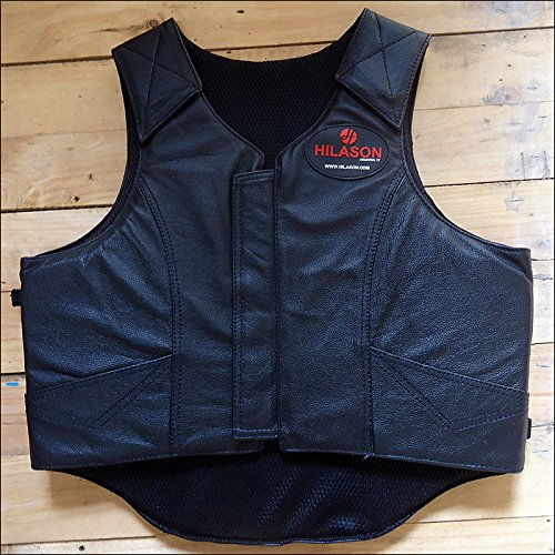SMALL HILASON BULL RIDING PRO RODEO LEATHER PROTECTIVE VEST BLACK (Pro Rodeo Gear compare prices)