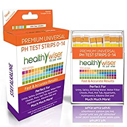 pH Test Strips 0-14, Universal Strips To Test, Urine, Saliva, Water, Pool, Hot Tub, Hydroponics, Garden Soil, Aquariums, Kombucha Tea, Alkaline Diet + BONUS Food Chart PDF, Results in Seconds, 100Ct