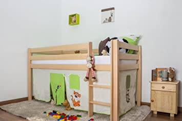 Midsleeper / Highsleeper bed Julian, solid beech wood, clearly varnished, incl. slatted frame - 90 x 200 cm