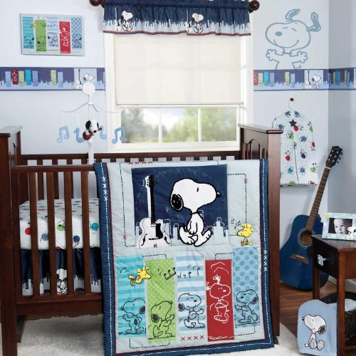 Bedtime Originals Hip Hop Snoopy 3 Piece Crib Bedding Set, Blue