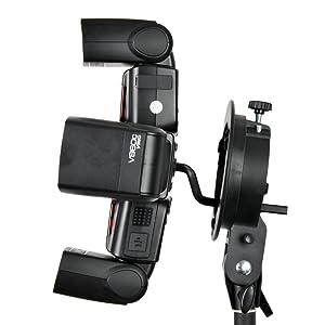 Godox S-FA Four Speedlite Adapter Hot Shoe Mount Holder for S-Type Speedlite Bracket, Hot Shoe Speedlite Flash + CEARI Microfiber Clean Cloth
