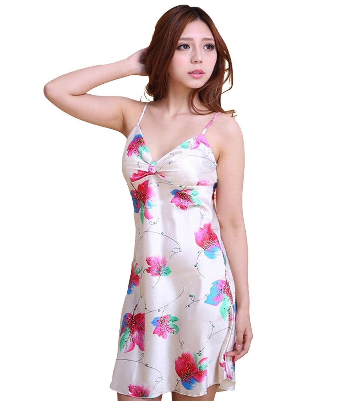 Damen Floral Nachtwäsche Nachtkleid V Auschnitt Minikleid Dessous Negligee