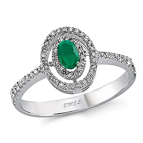 0.49 Carats 18k Solid White Gold Emerald and Diamond Engagement Wedding Bridal Promise Ring Band