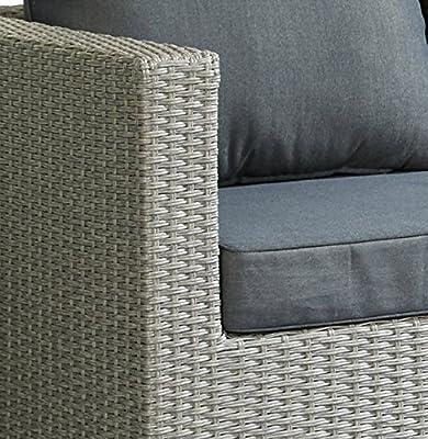 Hochwert. Polyrattan Sitzgruppe Grau inkl Kissen Stahl Gestell Lounge Garten Sofa von MO Living auf Gartenmöbel von Du und Dein Garten