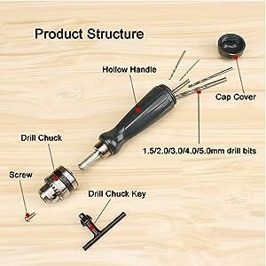 YYGJ Manual Hand Drill Tool Set Hand Tool Pin Vises Woodworking Precision DIY Model Jewelry Walnut Amber Beads Plastic with Chuck Key & Twist Drill Bits (7pcs)