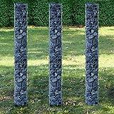 [pro.tec] Säulen - Gabionen 3er-Set (Grundriss viereckig -...