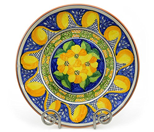 Ceramic Serving Platter, Mediterranean Blue and Yellow, Extra-Large
